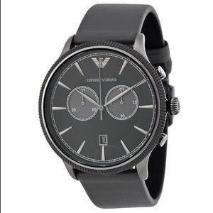 Emporio Armani Grey Leather Strap Watch AR1794